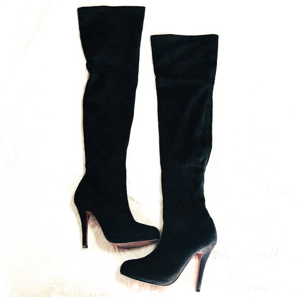 Bumper Thigh High Black Boots W Red Sole